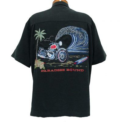 Men's Bamboo Cay® Short Sleeve Embroidered Modal Blend Shirt, Paradise Bound #WB9800 Black