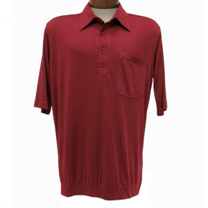 Men's Bassiri® Short Sleeve Knit Banded Bottom Shirt #531 Burgundy