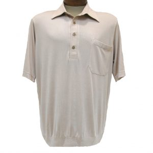 Men's Bassiri® Short Sleeve Knit Banded Bottom Shirt #531 Light Tan