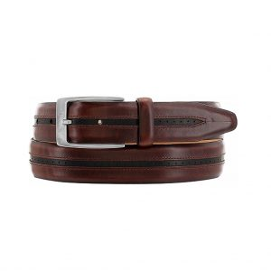Men's Brighton Ravenna Leather Belt, #M11685 Brown With Black