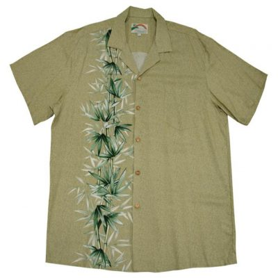 Men's Paradise Found® Aloha Short Sleeve Camp Shirt, Bamboo Panel Khaki