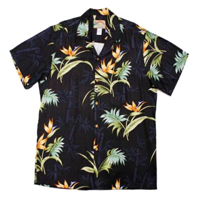 Men's Paradise Found® Aloha Short Sleeve Camp Shirt, Bamboo Paradise Black