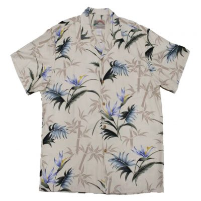 Men's Paradise Found® Aloha Short Sleeve Camp Shirt, Bamboo Paradise Cream