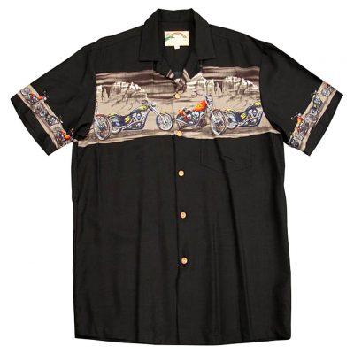 Men's Paradise Found® Aloha Short Sleeve Camp Shirt, Desert Riders Black