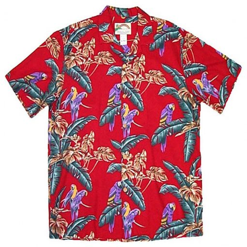 Men's Paradise Found® Aloha Short Sleeve Hawaiian Magnum P. I. Shirt, Jungle Bird Red