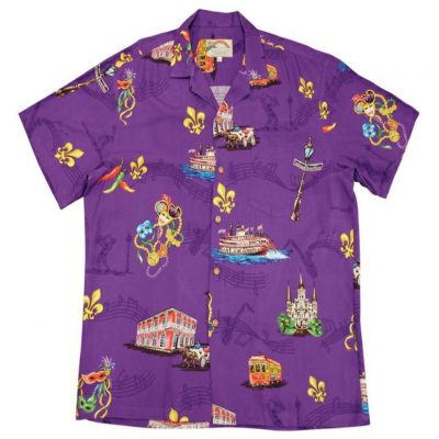 Men's Paradise Found® Aloha Short Sleeve Camp Shirt, Mardi Gras Purple