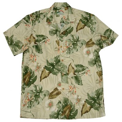 Men's Paradise Found® Aloha Short Sleeve Camp Shirt, Monstera Orchid Beige