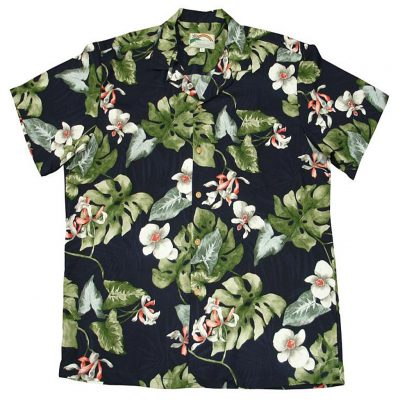 Men's Paradise Found® Aloha Short Sleeve Camp Shirt, Monstera Orchid Navy