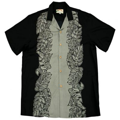 Men's Paradise Found® Aloha Short Sleeve Camp Shirt, Monstera Panel Black/Gray