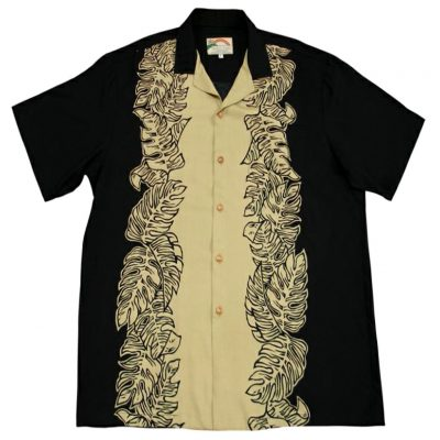 Men's Paradise Found® Aloha Short Sleeve Camp Shirt, Monstera Panel Black/Tan