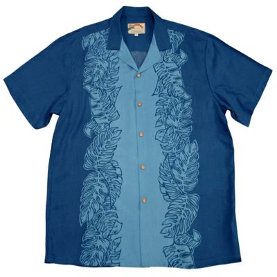 Men's Paradise Found® Aloha Short Sleeve Camp Shirt, Monstera Panel Blue
