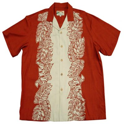 Men's Paradise Found® Aloha Short Sleeve Camp Shirt, Monstera Panel Rust/Cream