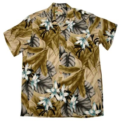 Men's Paradise Found® Aloha Short Sleeve Camp Shirt, Orchid Jungle Beige