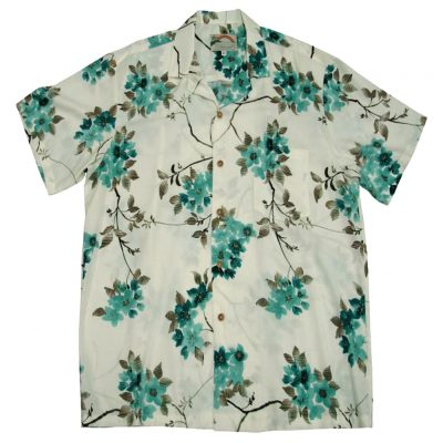 Men's Paradise Found® Aloha Short Sleeve Camp Shirt, Sakura (Cherry Blossom) Cream