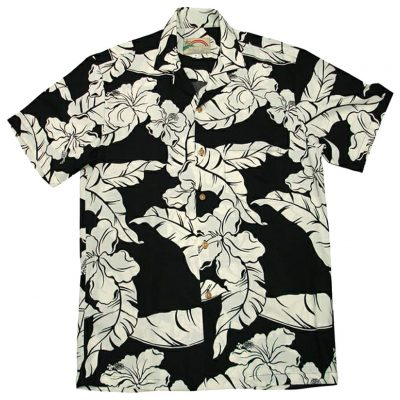 Men's Paradise Found® Aloha Short Sleeve Camp Shirt, Hibiscus Pareau Black