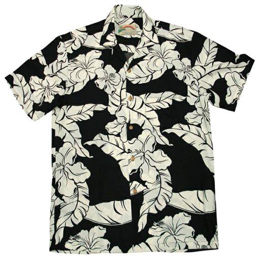 Men's Paradise Found® Aloha Short Sleeve Camp Shirt, Hibiscus Pareau Black
