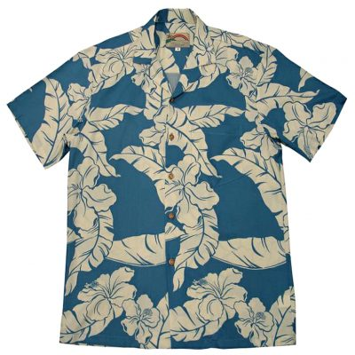 Men's Paradise Found® Aloha Short Sleeve Camp Shirt, Hibiscus Pareau Blue