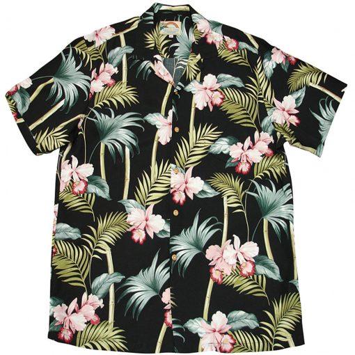 Men's Paradise Found® Aloha Short Sleeve Hawaiian Camp Shirt, Orchid Bamboo Black