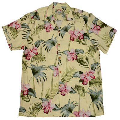 Men's Paradise Found® Aloha Short Sleeve Hawaiian Camp Shirt, Orchid Bamboo Yellow