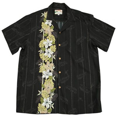 Men's Paradise Found® Aloha Short Sleeve Camp Shirt, Plumeria Panel Black