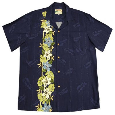 Men's Paradise Found® Aloha Short Sleeve Camp Shirt, Plumeria Panel Navy