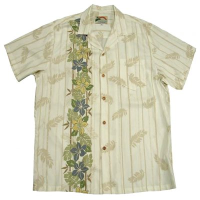 Men's Paradise Found® Aloha Short Sleeve Camp Shirt, Plumeria Panel Cream