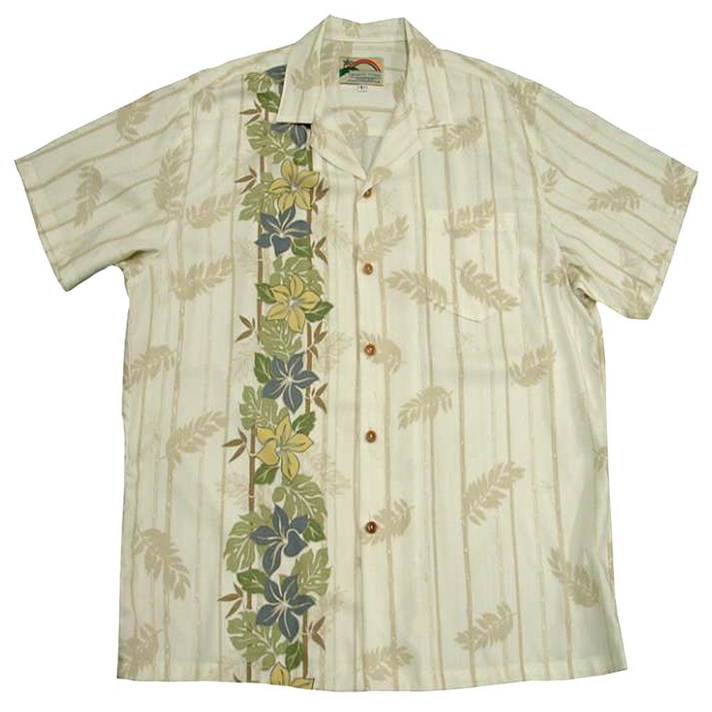 Men's Paradise Found® Aloha Short Sleeve Camp Shirt, Plumeria Panel Cream