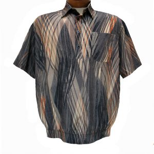 Men's Micro Polyester Short Sleeve Banded Bottom Shirt Beige, Exclusively At Richard David For Men #38875