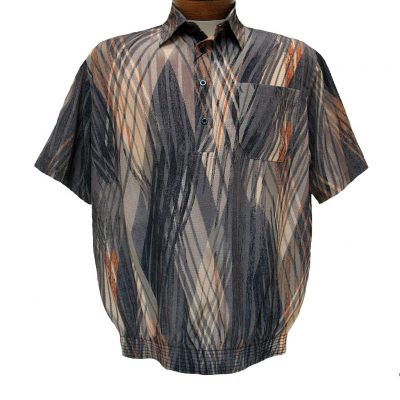 Men's Micro Polyester Short Sleeve Banded Bottom Shirt Beige