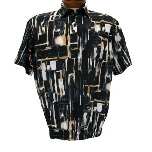 Men's Micro Polyester Short Sleeve Banded Bottom Shirt Black, Exclusively At Richard David For Men #39015