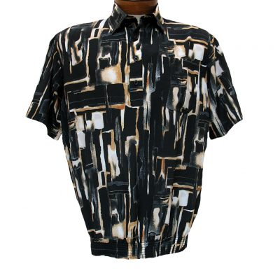 Men's Micro Polyester Short Sleeve Banded Bottom Shirt Black