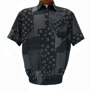 Men's Micro Polyester Short Sleeve Banded Bottom Shirt Black, Exclusively At Richard David For Men #39115