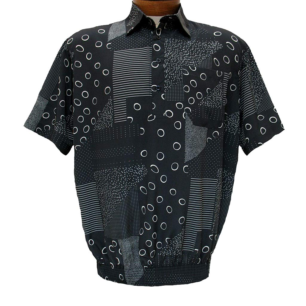 Men 39 s bassiri microfiber polyester short sleeve banded for Mens black short sleeve dress shirt