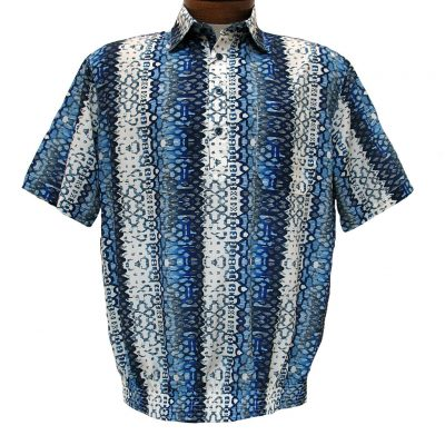 Men's Micro Polyester Short Sleeve Banded Bottom Shirt Blue
