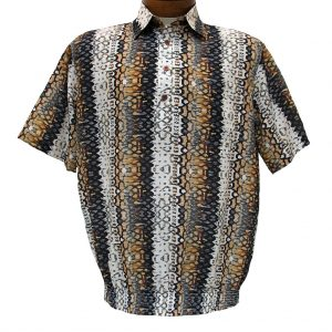 Men's Micro Polyester Short Sleeve Banded Bottom Shirt Brown, Exclusively At Richard David For Men #38575