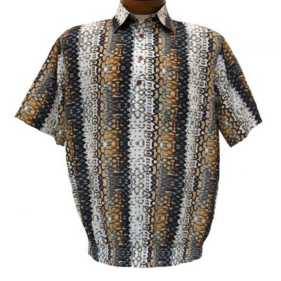 Men's Micro Polyester Short Sleeve Banded Bottom Shirt Brown