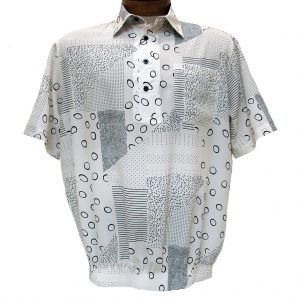 Men's Micro Polyester Short Sleeve Banded Bottom Shirt Cream, Exclusively At Richard David For Men #39095