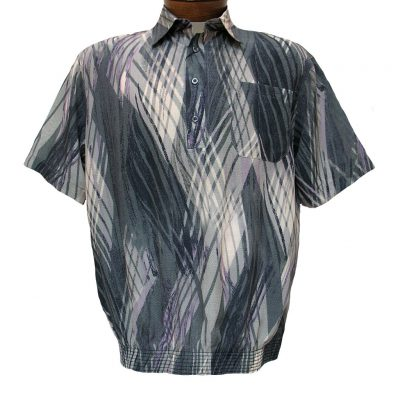 Men's Micro Polyester Short Sleeve Banded Bottom Shirt Grey