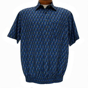Men's Micro Polyester Short Sleeve Banded Bottom Shirt Royal, Exclusively At Richard David For Men #39155