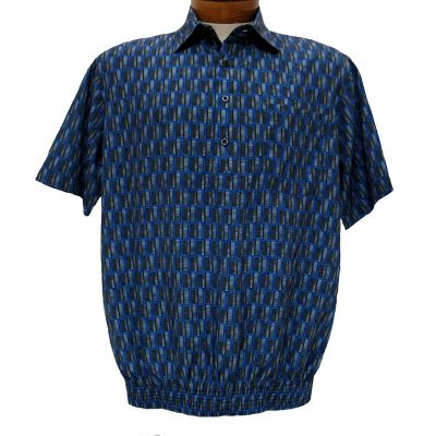 Men's Micro Polyester Short Sleeve Banded Bottom Shirt Royal