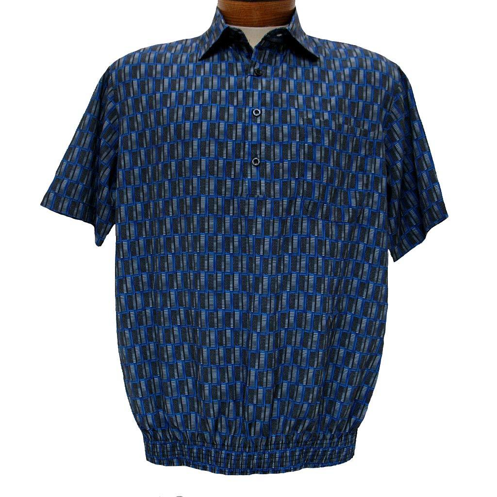 Men's Micro Polyester Short Sleeve Banded Bottom Shirt Royal