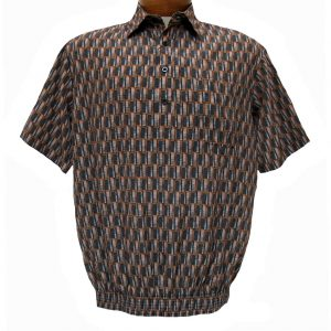Men's Micro Polyester Short Sleeve Banded Bottom Shirt Rust, Exclusively At Richard David For Men #39125