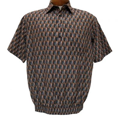 Men's Micro Polyester Short Sleeve Banded Bottom Shirt Rust