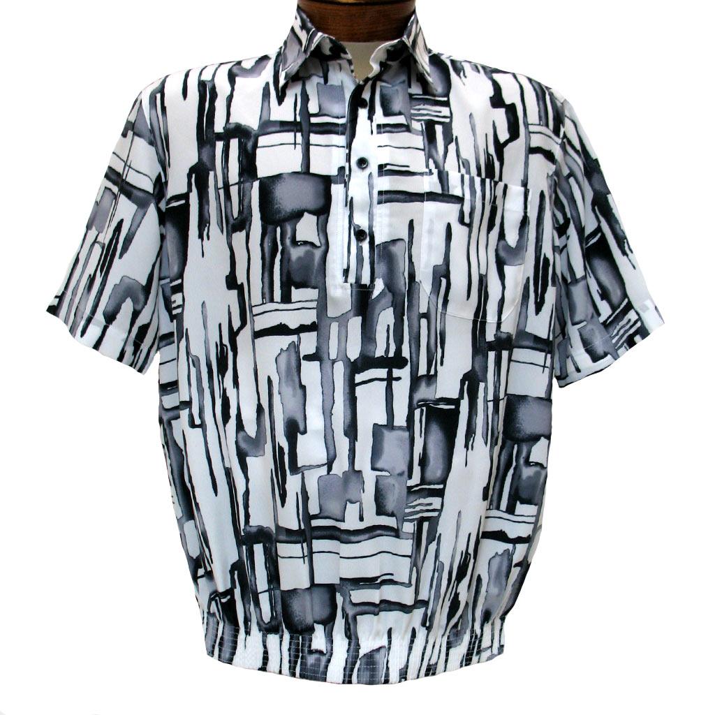 Men's Micro Polyester Short Sleeve Banded Bottom Shirt White