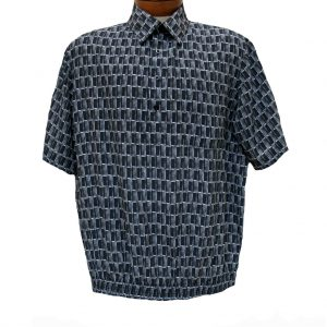 Men's Micro Polyester Short Sleeve Banded Bottom Shirt Black, Exclusively At Richard David For Men #39165 (XL, ONLY!)