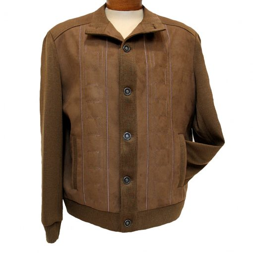 Men's ENZO® Faux Suede With Knit Trim Button Front Cardigan/Jacket, Gordon-3 Brown