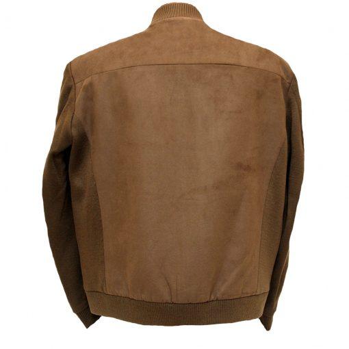 Men's ENZO® Faux Suede With Knit Trim Button Front Cardigan/Jacket, Gordon-3 Brown
