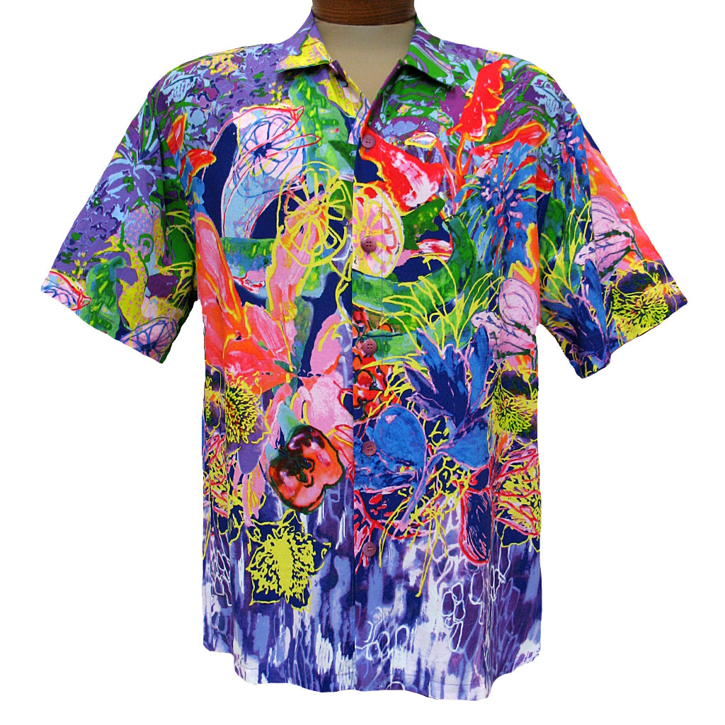 Men's Jams World® Short Sleeve Crushed Rayon Retro Aloah Shirt, Fruitopia