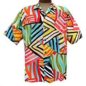 Men's Jams World Short Sleeve Original Crushed Rayon Retro Aloah Shirt, Rustic Trail