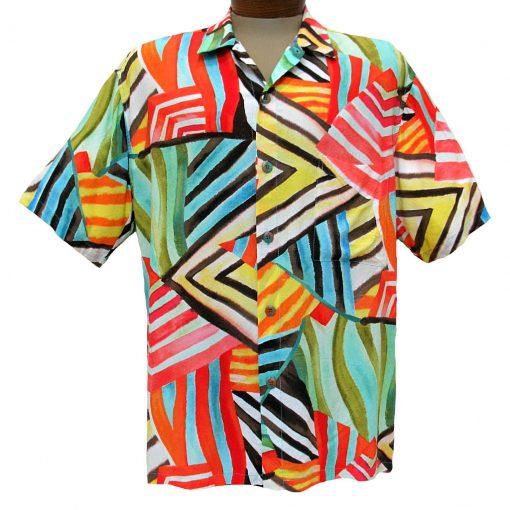 Men's Jams World® Short Sleeve Crushed Rayon Retro Aloah Shirt, Rustic Trail
